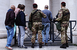 May 5, 2017 - Vatican City State (Holy See) -  Italian soldiers and some curious people look at St. Peter's Square from the columns of the colonnade. (Credit Image: © Evandro Inetti via ZUMA Wire)
