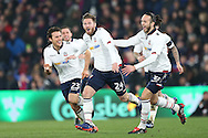 James Henry of Bolton Wanderers © celebrates with teammates after scoring his sides 1st goal . Emirates FA Cup 3rd round replay match, Crystal Palace v Bolton Wanderers at Selhurst Park in London on Tuesday 17th January 2017.<br /> pic by John Patrick Fletcher, Andrew Orchard sports photography.