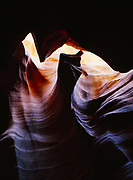 Fin of Navajo Sandstone within the hallowed chamber of a slickrock slot Upper Antelope Canyon, Colorado Plateau, Arizona.