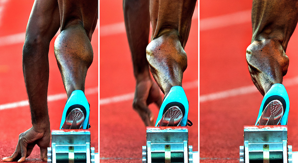 The Netherlands, Amsterdam, 31-08-2013.<br /> Athletics International, Flame Games, 100 metres, Men.<br /> The tension in the muscles of the left calf of the dutch athlete Churandy Martina during his start on the 100 metres sprint.<br /> Photo : Klaas Jan van der Weij