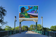 Native painting on Bridge across the Assiniboine River at The Forks<br /> Winnipeg<br /> Manitoba<br /> Canada