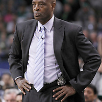 10 May 2012: Atlanta Hawks head coach Larry Drew is seen during the Boston Celtics 83-80 victory over the Atlanta Hawks, in Game 6 of the Eastern Conference first-round playoff series, at the TD Banknorth Garden, Boston, Massachusetts, USA.