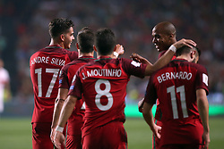 October 10, 2017 - Lisbon, Portugal - Portugal's forward Andre Silva (L) celebrates with teammates after scoring during the 2018 FIFA World Cup qualifying football match between Portugal and Switzerland at the Luz stadium in Lisbon, Portugal on October 10, 2017. Photo: Pedro Fiuza  (Credit Image: © Pedro Fiuza/NurPhoto via ZUMA Press)
