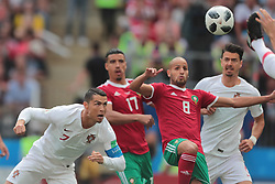 June 20, 2018 - Moscow, U.S. - MOSCOW, RUSSIA - JUNE 20: forward Cristiano Ronaldo of Portugal, defender Nabil Dirar of Morocco and midfielder Karim El Ahmadi of Morocco during a Group B 2018 FIFA World Cup soccer match between Portugal and Morocco on June 20, 2018, at Luzhniki Stadium in Moscow, Russia. (Photo by Anatoliy Medved/Icon Sportswire) (Credit Image: © Anatoliy Medved/Icon SMI via ZUMA Press)