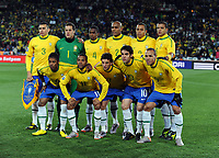 Brazil Team Group World Cup 2010<br /> (Back Row Left to Right) Lucio / Julio Cesar / Juan / Maicon / Gilberto Silva / Felipe Melo<br /> (Front Row Left to Right) Michel Bastos / Robinho / Elano / Kaka / Luis Fabiano<br /> Brazil V Korea DPR (2-1) 15/06/10 Group G at the Ellis Park Stadium<br /> FIFA World Cup 2010<br /> Photo Robin Parker Fotosports International