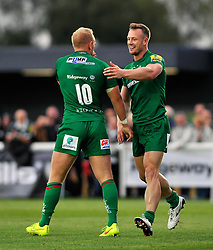 Shane Geraghty is congratulated by Andy Short (London Irish) - Photo mandatory by-line: Patrick Khachfe/JMP - Mobile: 07966 386802 22/08/2014 - SPORT - RUGBY UNION - Middlesex - Hazelwood - London Irish v Bristol Rugby - Pre-Season Friendly