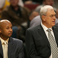 15 December 2009: Los Angeles Lakers assistant coach Brian Shaw and head coach Phil Jackson are seen on the bench during the Los Angeles Lakers 96-87 victory over the Chicago Bulls at the United Center, in Chicago, Illinois, USA.