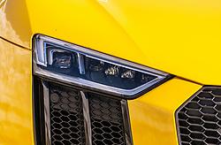 THEMENBILD - Detailaufnahme der Frontlichter und des Kühlergrill eines gelben Audi R8, aufgenommen am 20. April 2018 in Fusch an der Glocknerstrasse, Österreich // Detail view of the front lights and the grille of a yellow Audi R8, Fusch an der Glocknerstrasse, Austria on 2018/04/20. EXPA Pictures © 2018, PhotoCredit: EXPA/ JFK
