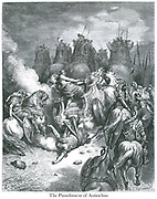 The Punishment of Antiochus [II Maccabees 9:7, 9]<br /> From the book 'Bible Gallery' Illustrated by Gustave Dore with Memoir of Dore and Descriptive Letter-press by Talbot W. Chambers D.D. Published by Cassell & Company Limited in London and simultaneously by Mame in Tours, France in 1866