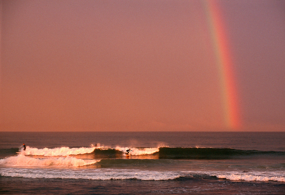 Ditch Plains Beach, Surfers, Montauk Cliffs, Ocean, New York, Long Island, Rainbow