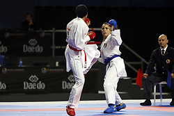 November 10, 2018 - Madrid, Madrid, Spain - Moroccan karateka Btissam Sadini (L) seen fighting with the Italian karateka Laura Pasqua to compete for the Bronze Medal during the Kumite female -61kg competition of the 24th Karate World Championships at the WiZink centre in Madrid (Credit Image: © Manu Reino/SOPA Images via ZUMA Wire)