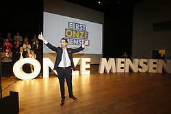 March 30, 2019 - Gent, Belgium - Vlaams Belang chairman Tom Van Grieken pictured during a party congress of Flemish far-right party Vlaams Belang regarding the program for the upcoming elections, Saturday 30 March 2019 in Gent. (Credit Image: © Nicolas Maeterlinck/Belga via ZUMA Press)