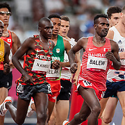 TOKYO, JAPAN August 3:    Birhanu Balew of Bahrain and Nicholas Kipkorir Kimeli of Kenya in action during the Men's 5000m round one heat one race at the Olympic Stadium during the Tokyo 2020 Summer Olympic Games on August 3rd, 2021 in Tokyo, Japan. (Photo by Tim Clayton/Corbis via Getty Images)