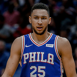 Dec 10, 2017; New Orleans, LA, USA; Philadelphia 76ers guard Ben Simmons (25) against the New Orleans Pelicans during the first quarter of a game at the Smoothie King Center. Mandatory Credit: Derick E. Hingle-USA TODAY Sports