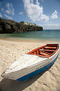 Boat on beach, Curacao, Netherlands Antilles
