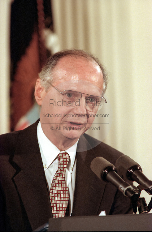 US Secretary of Education Richard Riley during the signing ceremony for the Higher Education Act in the East Room of the White House October 7, 1998 in Washington, DC.