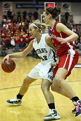 18 March 2011: Hope Schulte guarded by Kathryn Berger during an NCAA Womens basketball game between the Washington University Bears and the Illinois Wesleyan Titans at Shirk Center in Bloomington Illinois.