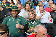 South africa fans during the Rugby World Cup Pool B match between South Africa and Japan at the Community Stadium, Brighton and Hove, England on 19 September 2015. Photo by Phil Duncan.
