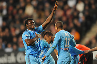 FOOTBALL - FRENCH CHAMPIONSHIP 2010/2011 - L1 - STADE RENNAIS v OLYMPIQUE MARSEILLE  - 11/03/2011 - PHOTO PASCAL ALLEE / DPPI -  JOY TAIWO FAYE ISMAILA (OM) AFTER THE GOAL OF LUCHO