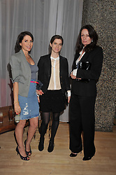 Left to right, SADIE FROST, JADE DAVIDSON and TRISH SIMONON at the 2012 Rodial Beautiful Awards held at The Sanderson Hotel, Berners Street, London on 6th March 2012.