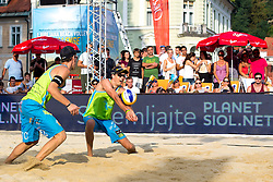 Nejc Zemljak and Jan Pokersnik at Beach Volleyball Challenge Ljubljana 2014, on August 2, 2014 in Kongresni trg, Ljubljana, Slovenia. Photo by Matic Klansek Velej / Sportida.com