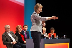 © Licensed to London News Pictures . 27/09/2015 . Brighton , UK . HARRIET HARMAN thanks her husband Jack Dromey following a tribute to her record as Deputy Leader of the Labour Party , at the 2015 Labour Party Conference . Photo credit : Joel Goodman/LNP