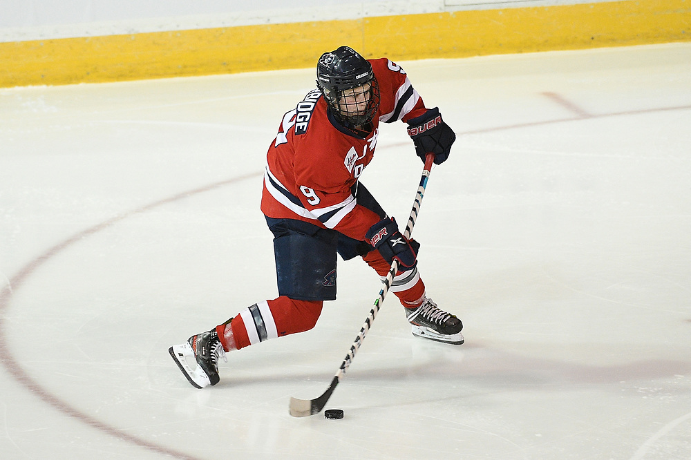 ERIE, PA - MARCH 05: Maggy Burbidge #9 of the Robert Morris Colonials attempts a shot in overtime during the game against the Mercyhurst Lakers at the Erie Insurance Arena on March 5, 2021 in Erie, Pennsylvania. (Photo by Justin Berl/Robert Morris Athletics)