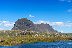 View of Suilven mountain in Assynt , Sutherland,  Highland, Scotland, United Kingdom