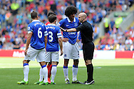Referee Anthony Taylor tries to calm down Everton's Marouane Fellaini .  Barclays Premier league, Cardiff city v Everton at the Cardiff city Stadium in Cardiff,  South Wales on Saturday 31st August 2013. pic by Andrew Orchard,  Andrew Orchard sports photography,