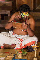 Kathakali Makeup - Kathakali is a  classical Indian dance drama noted for the attractive makeup of the characters, elaborate costumes, defined gestures and presented iwith background drumming. . It originated in Kerala during the seventeenth century and is a popular form of entertainment in Kerala state.