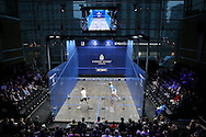 General view of the Court during a Wildcard Challenge match between Josh Masters of England (wearing Blue Shirt) vs Lyell Fuller of England (wearing the White shirt)., , before the main Final. Canary Wharf Squash Classic 2016 , at the East Wintergarden in Canary Wharf , London on Friday 11th March 2016.<br /> pic by John Patrick Fletcher, Andrew Orchard sports photography.