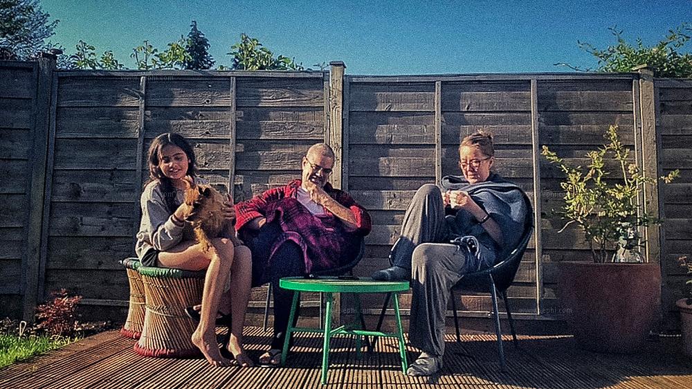 Nicola Bannon Shukla, Kartikeya Shukla and Gabby Shukla in London, UK. April 2020