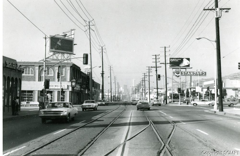 1971 Looking west on Santa Monica Blvd. at Fairfax Ave.