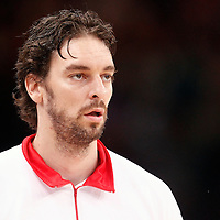 15 July 2012: Pau Gasol of Team Spain warms up prior to a pre-Olympic exhibition game won 75-70 by Spain over France, at the Palais Omnisports de Paris Bercy, in Paris, France.