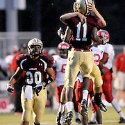 30 11 43 Ashley's Connor Garnette, back, and Obrien Hutchinson celbrate a fumble recovery against Hoke County as Daniel Andrews looks on. (Jason A. Frizzelle) This collection of images is from the 2013 High School Football in the Cape Fear region.