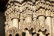 Gothic sculpted illustrated column capitals  from the Cathedral of Chartres, France. . A UNESCO World Heritage Site. . .<br /> <br /> Visit our MEDIEVAL ART PHOTO COLLECTIONS for more   photos  to download or buy as prints https://funkystock.photoshelter.com/gallery-collection/Medieval-Middle-Ages-Art-Artefacts-Antiquities-Pictures-Images-of/C0000YpKXiAHnG2k