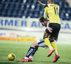 Falkirk's Lee Miller and Livingston Myles Hippolyte. Falkirk 2 v 0 Livingston, Scottish Championship game played 29/12/2015 at The Falkirk Stadium.