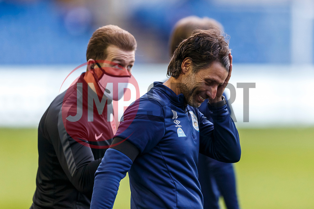 Huddersfield Town Manager Danny Cowley reacts in disbelief after talking to the fourth official after a decision goes against his side - Mandatory by-line: Daniel Chesterton/JMP - 24/06/2020 - FOOTBALL - Hillsborough - Sheffield, England - Sheffield Wednesday v Huddersfield Town - Sky Bet Championship
