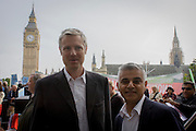 The white middle-classes gathered in Parliament Square to protest against plans for a third runway at Heathrow airport - blighting, they say, thousands of homes in London's aviation hub's flight paths - especially to the west of the capital. Central to the demonstration were both London mayoral candidates: the Conservative Zac Goldsmith (left) and Labour's Sadique Khan.