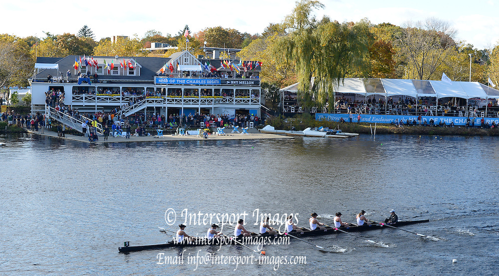 """Boston,  USA  ."""" 2012 Head of the Charles"""".  ..Description;  Championships Women's Eights, London RC. pass the  Cambridge Boat House.  2012 Head of the Charles. Crews rowing past. ..15:24:08  Sunday  21/10/2012 ...[Mandatory Credit: Peter Spurrier/Intersport Images]"""