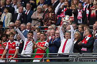 Arsenal manager Arsene Wenger celebrates with the trophy               <br /> <br /> <br /> Photographer Craig Mercer/CameraSport<br /> <br /> The Emirates FA Cup Final - Arsenal v Chelsea - Saturday 27th May 2017 - Wembley Stadium - London<br />  <br /> World Copyright © 2017 CameraSport. All rights reserved. 43 Linden Ave. Countesthorpe. Leicester. England. LE8 5PG - Tel: +44 (0) 116 277 4147 - admin@camerasport.com - www.camerasport.com