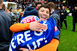 Luke Gambin of Luton Town with Luton fan Nicky Toone - Mandatory by-line: James Healey/JMP - 28/04/2018 - FOOTBALL - Kenilworth Road - Luton, England - Luton Town v Forest Green Rovers - Sky Bet League Two