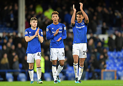 """Left to right, Everton's Jonjoe Kenny, Mason Holgate and Dominic Calvert-Lewin after the Premier League match at Goodison Park, Liverpool. PRESS ASSOCIATION Photo Picture date: Saturday December 2, 2017. See PA story SOCCER Everton. Photo credit should read: Dave Howarth/PA Wire. RESTRICTIONS: EDITORIAL USE ONLY No use with unauthorised audio, video, data, fixture lists, club/league logos or """"live"""" services. Online in-match use limited to 75 images, no video emulation. No use in betting, games or single club/league/player publications."""