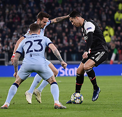 TURIN, Nov. 27, 2019  FC Juventus' Cristiano Ronaldo (R) competes during the UEFA Champions League Group D match between FC Juventus and Atletico Madrid in Turin, Italy, Nov. 26, 2019. (Photo by Federico Tardito/Xinhua) (Credit Image: © Cheng Tingting/Xinhua via ZUMA Wire)