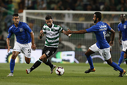 September 1, 2018 - Lisbon, Portugal - Bruno Fernandes of Sporting (C) vies for the ball with Bruno Nascimento of Feirense  (R) and Crivellaro of Feirense (L)  during Primeira Liga 2018/19 match between Sporting CP vs CD Feirense, in Lisbon, on September 1, 2018. (Credit Image: © Carlos Palma/NurPhoto/ZUMA Press)