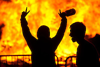 Granite Bay High School students gather for a bonfire during homecoming celebrations.