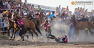 Indian Relay Race actrion at Rodeo at North American Indian Days in Browning, Montana, USA