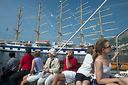 Passengers from aboard Royal Clipper visit the town by tender boat.
