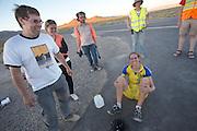 Ellen van Vugt hoort dat ze haar persoonlijk record heeft verbeterd op de derde racedag van het WHPSC. In de buurt van Battle Mountain, Nevada, strijden van 10 tot en met 15 september 2012 verschillende teams om het wereldrecord fietsen tijdens de World Human Powered Speed Challenge. Het huidige record is 133 km/h.<br /> <br /> Ellen van Vught gets the message she broke her personal record on the third day of the WHPSC. Near Battle Mountain, Nevada, several teams are trying to set a new world record cycling at the World Human Powered Speed Challenge from Sept. 10th till Sept. 15th. The current record is 133 km/h.