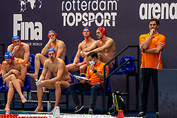 Bench Netherlands with Coach Harry van der Meer, Jesse Nispeling, Jesse Koopman, Jorn Muller, Guus Wolswinkel, Eelco Wagenaar against / of Croatia during the Olympic qualifying tournament. The Dutch water polo players are on the hunt for a starting ticket for the Olympic Games on February 15, 2021 in Rotterdam
